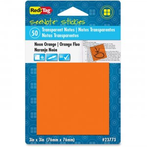 Redi-Tag SeeNote Stickies Neon Transparent Notes 23773 RTG23773