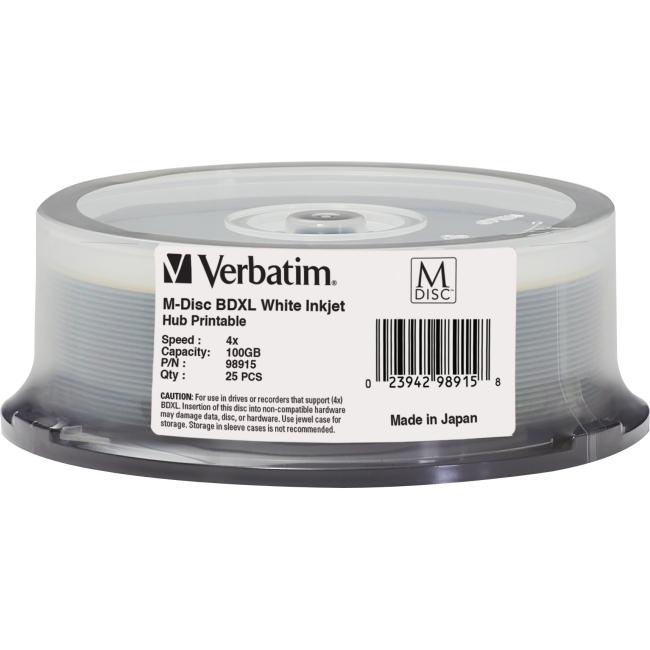 Verbatim M-Disc BD-R 100GB 4X White Inkjet Printable, Hub Printable - 25pk Spindle 98915