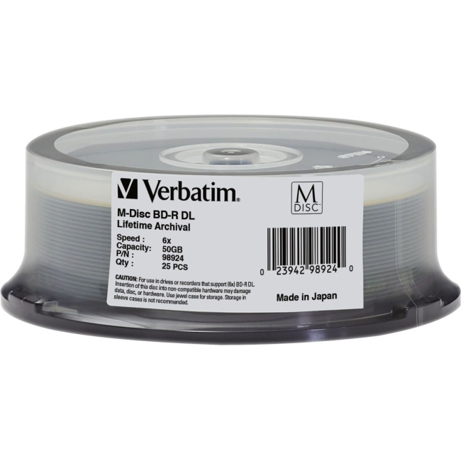 Verbatim M-Disc BD-R DL 50GB 6X with Branded Surface - 25pk Spindle 98924