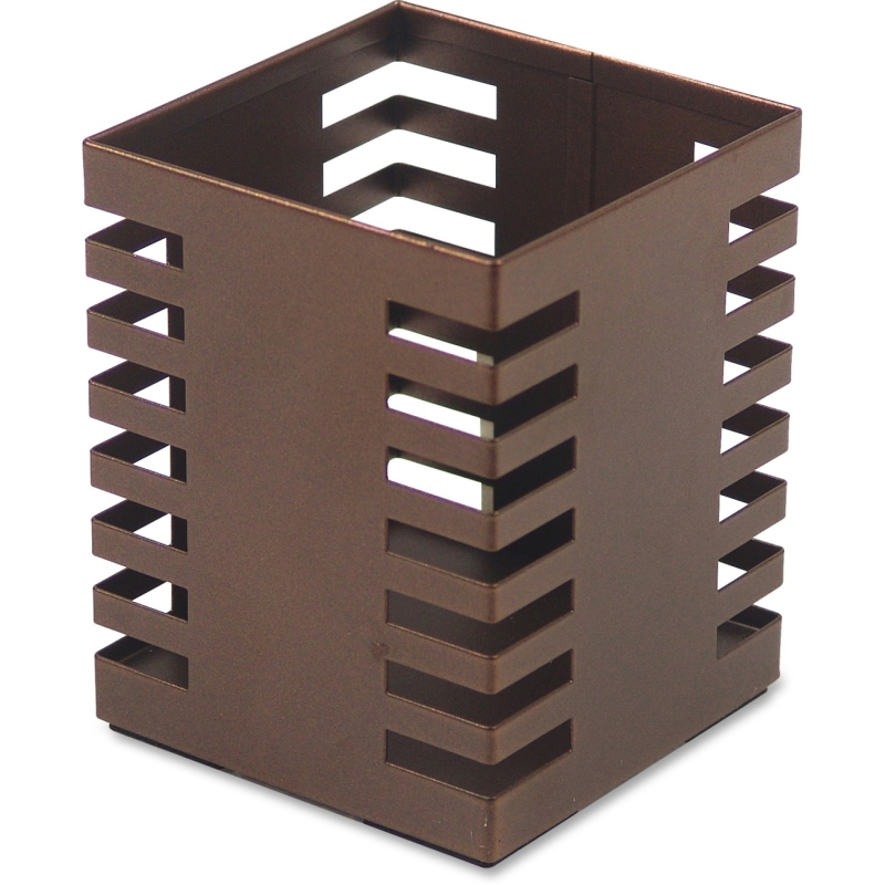 Lorell Stamped Metal Square Pencil Cup 84249 LLR84249