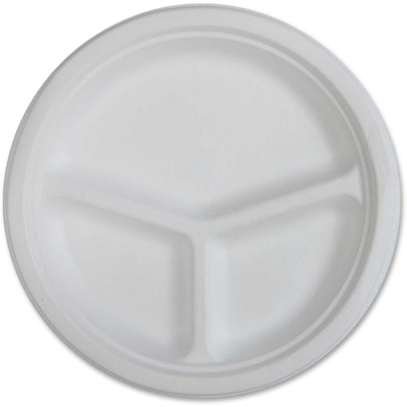 Genuine Joe 3-Compartment Disposable Plates 10219 GJO10219