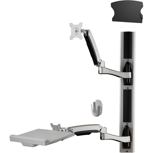 Amer Sit-Stand Combo Workstation Wall Mount System with Extended Display Arm AMR1AWSV3