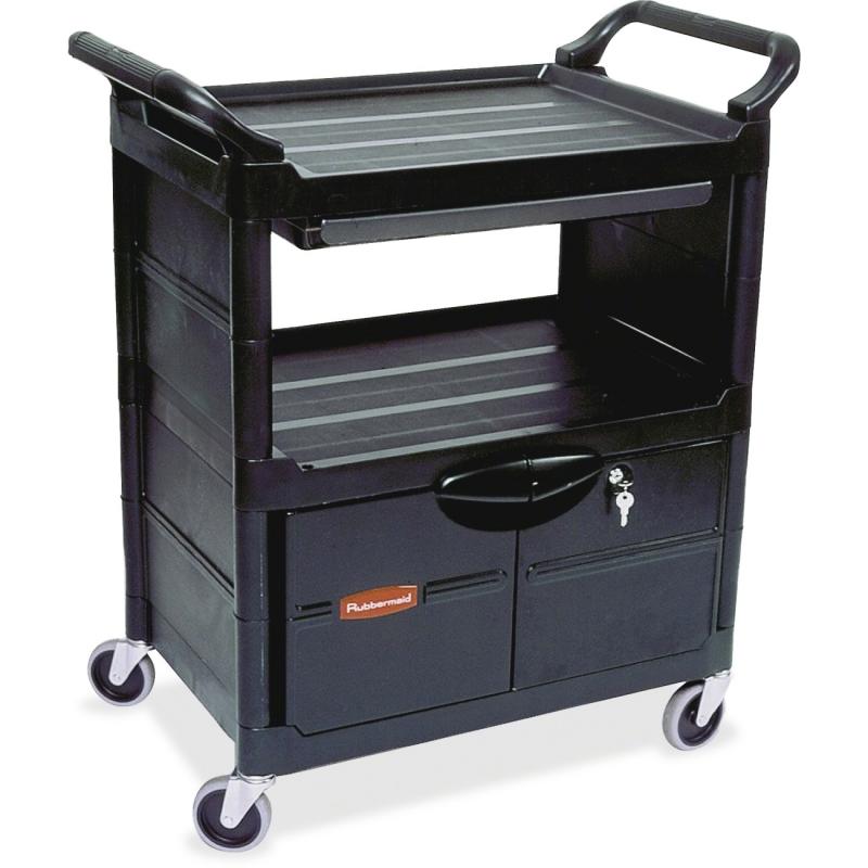 Rubbermaid Lockable Storage Utility Cart FG345700BLA RCPFG345700BLA