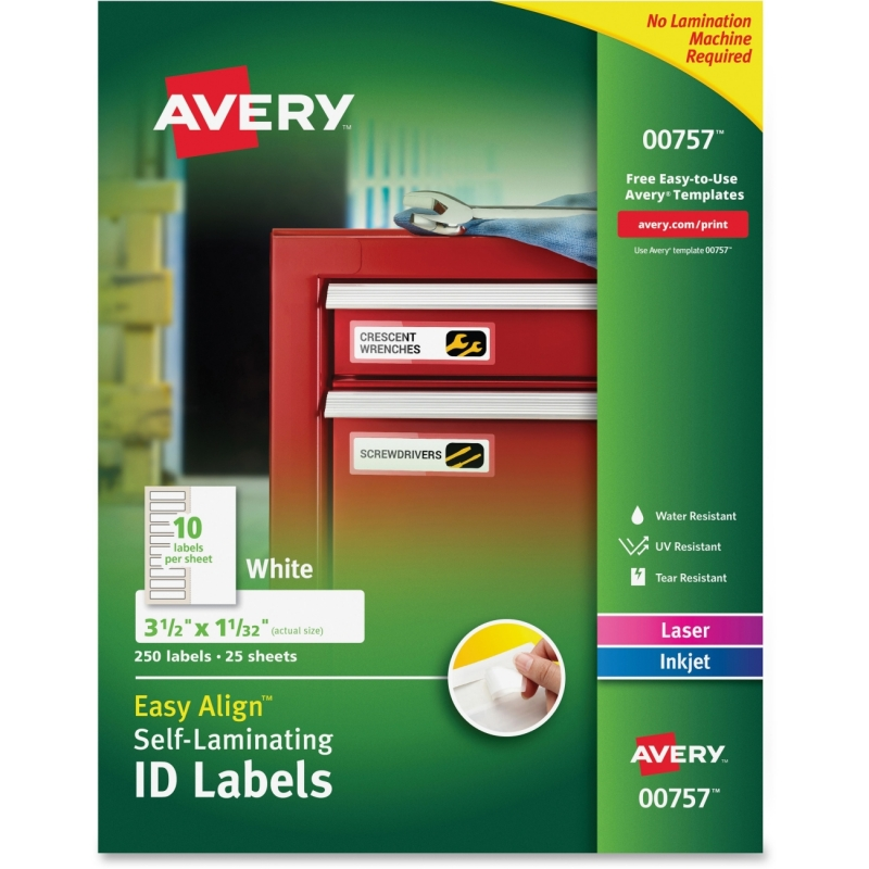 Avery Easy Align Self-Laminating ID Labels 00757 AVE00757