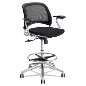 Safco Reve Mesh Extended-Height Chair, Supports up to 250 lbs., Black Seat/Black Back, Chrome Base SAF6820BL 6820BL