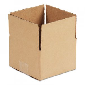 "Genpak Fixed-Depth Shipping Boxes, Regular Slotted Container (RSC), 6"" x 4"" x 4"", Brown Kraft, 25/Bundle UFS644"