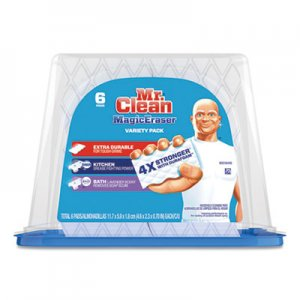 "Mr. Clean Magic Eraser Foam Pad, 2 2/5"" x 4 3/5"", Variety Pk, White/Blue, 6/Pk, 3"