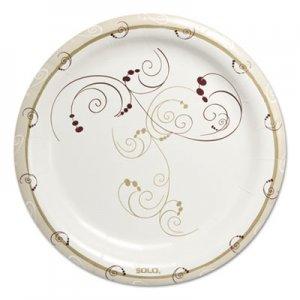 "Dart Symphony Heavyweight Paper Dinnerware, 9"", Round, White/Beige/Red,125/PK, 4PK/CT SCCHP9SJ8001CT HP9S-J8001"