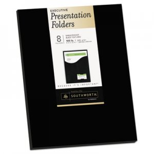 Southworth One-Pocket Presentation Folders, 8 1/2 x 11, Black, 8/Pack SOU98873 98873