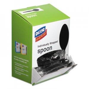 Dixie Grab N Go Wrapped Cutlery, Teaspoons, Black, 90/Box DXETM5W540PK TM5W540