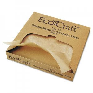 Bagcraft EcoCraft Grease-Resistant Paper Wrap/Liner, 12 x 12, 1000/Box, 5 Boxes/Carton BGC300897 BGC 300897