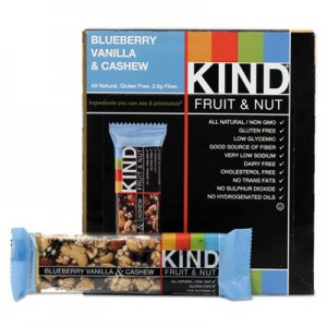 KIND Fruit and Nut Bars, Blueberry Vanilla and Cashew, 1.4 oz Bar, 12/Box KND18039 18039
