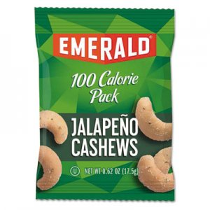 Emerald 100 Calorie Pack Nuts, Jalapeno Cashews, 0.62 oz Pack, 7/Box DFD33625 33625