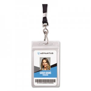 Advantus Resealable ID Badge Holder, Lanyard, Vertical, 2 5/8 x 3 3/4, Clear, 20/Pack AVT91131 91131