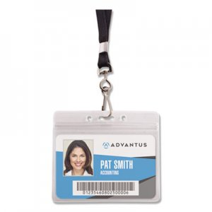 Advantus Resealable ID Badge Holder, Lanyard, Horizontal, 3 3/4 x 2 5/8, Clear, 20/Pack AVT91132 91132