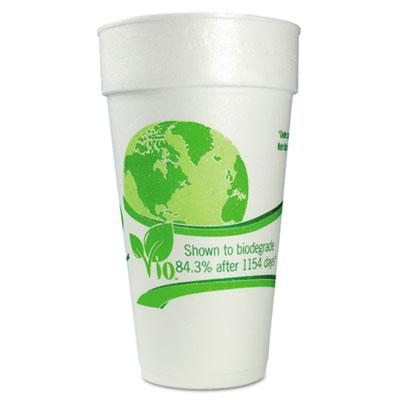WinCup Vio Biodegradable Cups, Foam, 24 oz, White/Green, 300/Carton WCP24C18VIO 24C18VIO