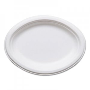 "Eco-Products Renewable & Compostable Sugarcane Plates, Oval - 10"" x 7"", 50/PK, 10 PK/CT ECOEPP009 EP-P009"