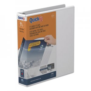 "Stride QuickFit Round-Ring View Binder, 1 1/2"" Capacity, White STW88020"