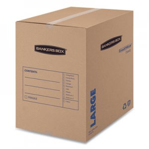 "Bankers Box SmoothMove Basic Moving Boxes, Large, Regular Slotted Container (RSC), 18"" x 18"" x 24"", Brown Kraft/Blue, 15"