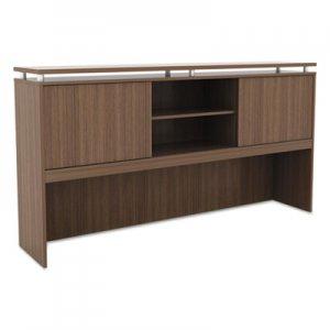 Alera Sedina Series Hutch with Sliding Doors, 72w x 15d x 42 1/2h, Modern Walnut ALESE267215WA