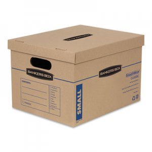"Bankers Box SmoothMove Classic Moving & Storage Boxes, Small, Half Slotted Container (HSC), 15"" x 12"" x 10"", Brown Kraft/Blue"