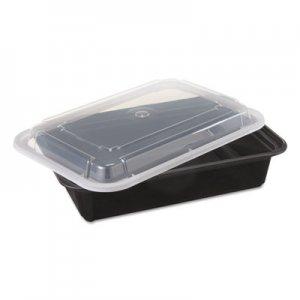 Pactiv VERSAtainers, Black/Clear, 38oz, 6w x 8 1/2d x 2h, 150/Carton PCTNC888B NC888B