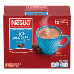 Nestle No-Sugar-Added Hot Cocoa Mix Envelopes, Rich Chocolate, 0.28 oz Packet, 30/Box NES61411 61411