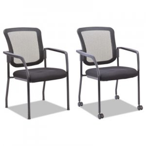 Alera Mesh Guest Stacking Chair, Supports up to 275 lbs., Black Seat/Black Back, Black Base ALEEL4314