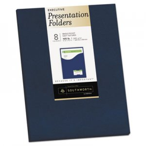 Southworth One-Pocket Presentation Folders, 8 1/2 x 11, Navy, 8/Pack SOU98874 98874