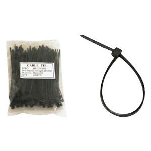 Unirise 6in Nylon Cable Tie 40lbs Black 100pk ZIP-06IN-100PKBK
