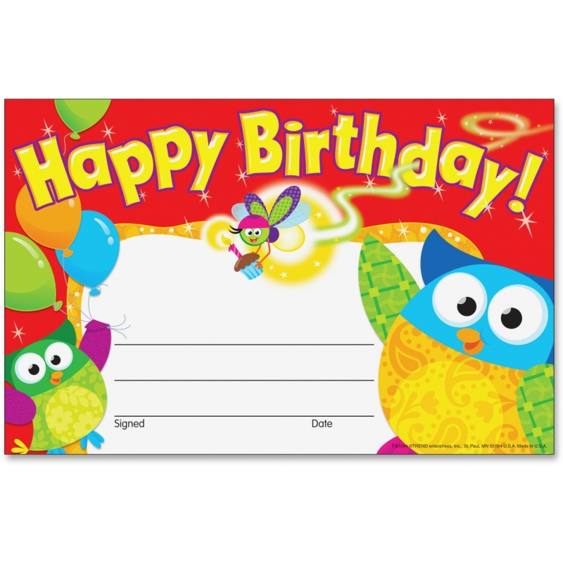 Trend Happy Birthday Owl-Stars Recognition Awards 81044 TEP81044