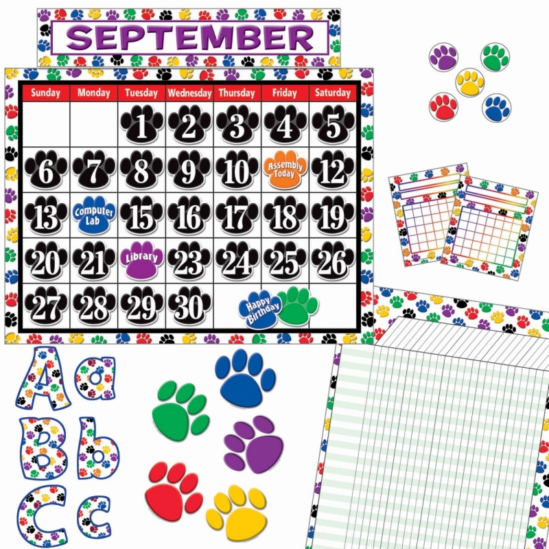 Teacher Created Resources Paw Prints Accents Board Set 9668 TCR9668