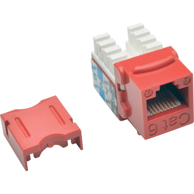 Tripp Lite Cat6/Cat5e 110 Style Punch Down Keystone Jack - Red, 25-Pack N238-025-RD