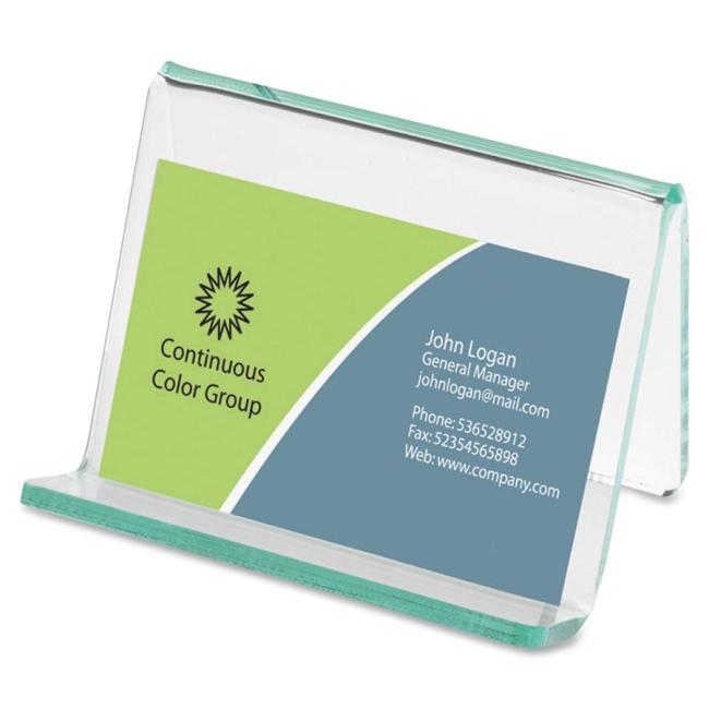 Lorell Acrylic Transparent Green Edge Business Card Holder 80657 LLR80657