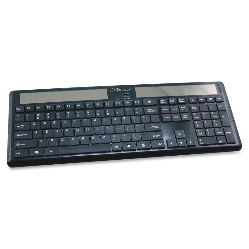 """Compucessory Wireless Solar Keyboard, 16-1/8""""x6""""x7/8"""", Black 50913 CCS50913"""