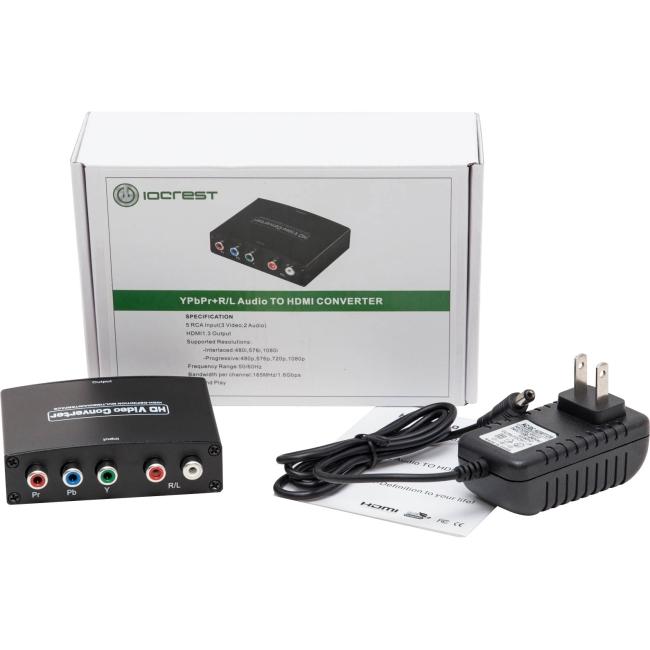 IO Crest Component (YPbPr) + RCA Audio to HDMI 1.3 1080p HDTV Converter SY-ADA31048