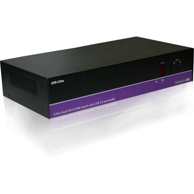 SmartAVI DVNET-4Duo, 4x2 DVI-D, USB 2.0, Audio Switch. Includes: [ & (PS5VDC4A)] DVN-4DUOS DVN-4Duo