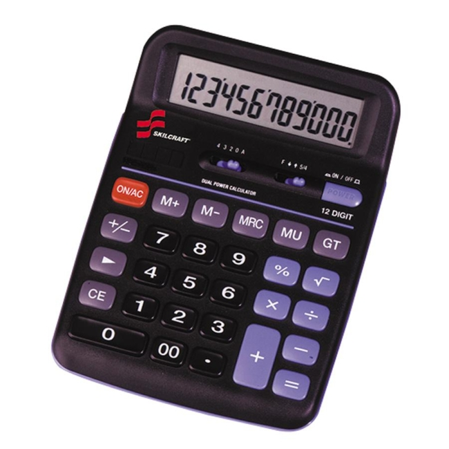 SKILCRAFT 12-Digit Dual Powered Desktop Calculator 7420-01-484-4560 NSN4844560