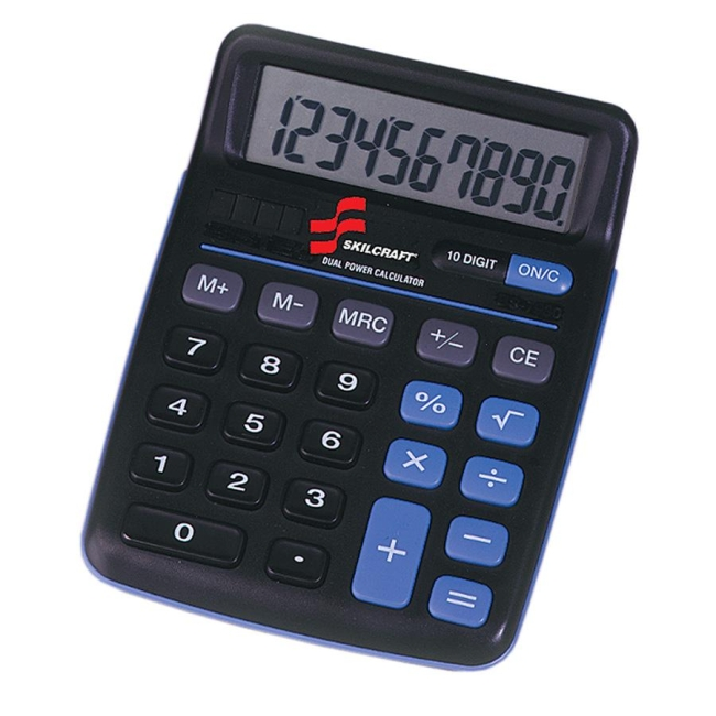 SKILCRAFT 10-Digit Calculator 7420-01-484-4580 NSN4844580