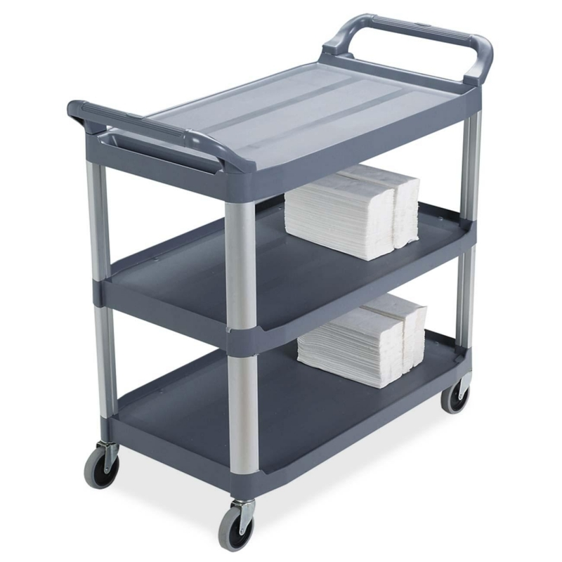 Rubbermaid 3-Shelf Mobile Utility Cart 409100 GRAY RCP409100