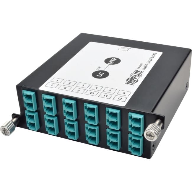 Tripp Lite 100Gb/120Gb to10Gb Breakout Cassette, 24-Fiber MTP/MPO to ( x12 ) LC Duplex N484-1M24-LC12