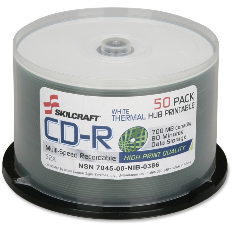 SKILCRAFT Thermal Printable CD-R Discs - 50PK Spindle 7045016269521 NSN6269521
