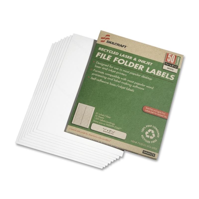 SKILCRAFT 1/3 Tab Laser Label 7530-01-514-4905 NSN5144905