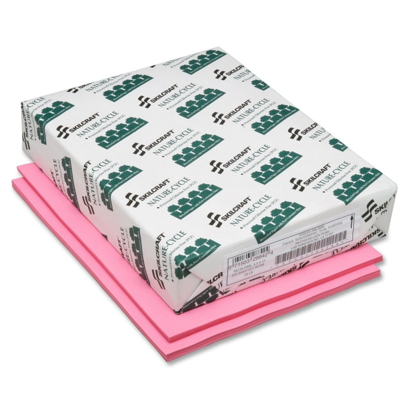 SKILCRAFT Neon Colored Copier Paper - Process Chlorine Free, Neon Pink 7530013982680 NSN3982680