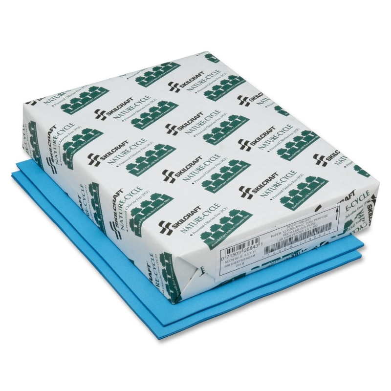 SKILCRAFT Neon Colored Copier Paper - Process Chlorine Free, Neon Blue 7530013982681 NSN3982681