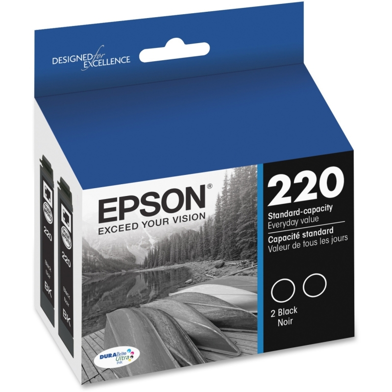 Epson Standard-Capacity Black Dual Pack Ink Cartridge T220120-D2 EPST220120D2 T220