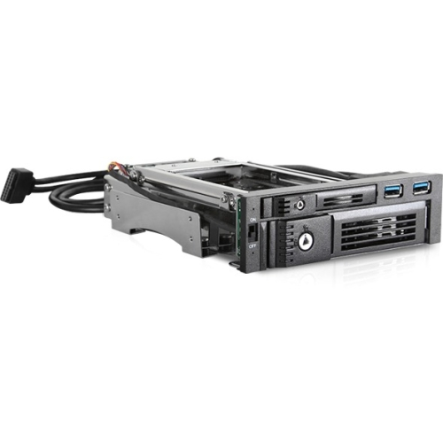 "iStarUSA Trayless 5.25"" to 3.5"" & 2.5"" SATA 6 Gbps HDD SSD Hot-swap Rack with USB 3"