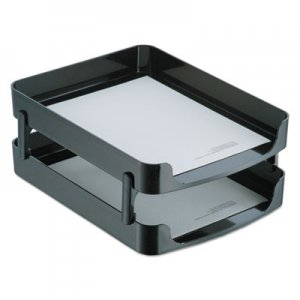 Officemate 2200 Series Front-Loading Desk Tray, Two Tiers, Plastic, Letter, Black OIC22236 22236