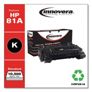 Innovera Remanufactured Black Toner, Replacement for HP 81A (CF281A), 10,500 Page-Yield IVRF281A
