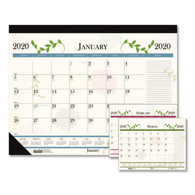 House of Doolittle Recycled Floral Desk Pad Calendar, 18 1/2 x 13, 2020 HOD1846 1846